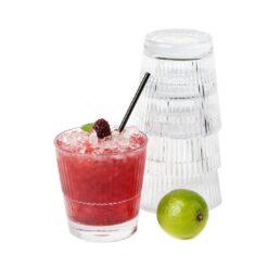 Miljöbild fyllt glas Barcompagniet glas stripe 355 rocks 35.5cl